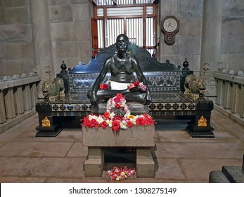 Tiruvanamalai, India - December 8, 2018: Statue from Sri Ramana Maharshi in the Ashram in Tiruvanamalai India
