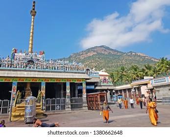Tiruvannamalai, India - December 10, 2018: Arunachaleswarar temple in Tiruvannamalai India