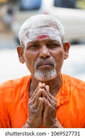 TIRUVANNAMALI, TAMIL NADU, INDIA - MARCH Circa, 2018 . Portrait Sadhu at Ashram Ramana Maharshi. Sadhu is a holy man, who have chosen to live an ascetic life and focus on the spiritual practice