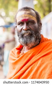 TIRUVANNAMALI, TAMIL NADU, INDIA - MARCH Circa, 2018 . Portrait Sadhu at Ashram Ramana Maharshi. Sadhu is a holy man, who have chosen to live an ascetic life and focus on  spiritual practice of Hindu