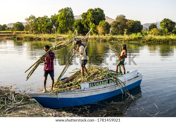 Tis Issat, Ethiopia - Feb 05, 2020: People living near the Blue Nile falls, Tis-Isat Falls, meaning great smoke in Amharic in Amara region of Ethiopia, Eastern Africa