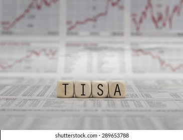 TISA word built with letter cubes