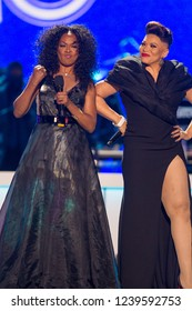 Tishina Arnold and Tisha Campbell  at the Soul Train Awards 2018 presented by BET, at the Orleans Arena on November 17th 2018 in Las Vegas, Nevada - USA