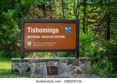 Tishomingo Wildlife Refuge, OK, USA - May 12, 2018: A welcoming signboard at the entry point of the preserve park