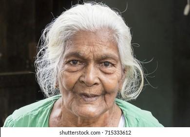 TISSAMAHARAMA, SRI LANKA, February 19th, 2017: Grandmother on a market in Tissamaharama, EDITORIAL