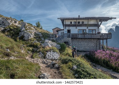 Tissi refuge-August 18, 2017:Dedicated to the memory of Attilio Tissi, a mountaineer,  on Col Rean cliff, a panoramic location overlooking Alleghe village & lake  below, and Dolomite mountains, Italy