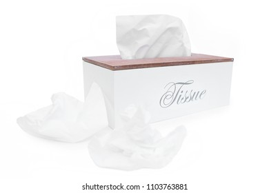 Tissue box with tissue paper isolated
