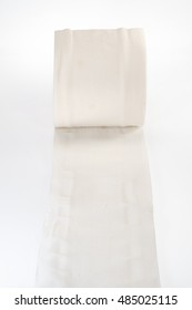 Tissue paper roll on white background.