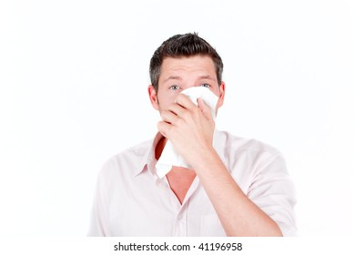 Tissue paper sneezing man having a cold
