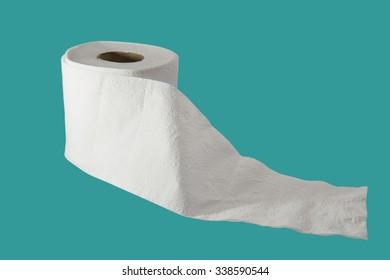 tissue roll on green background