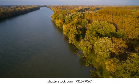 Tisza river, on hungarian in autumn forest