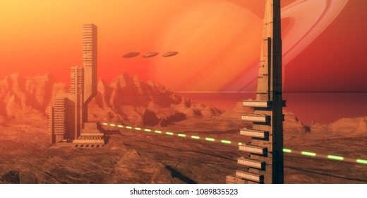 Titan Moon Habitat 3D illustration - Skyscrapers are part of a colony based on Saturn's moon called Titan as flying saucers come in for a landing nearby.