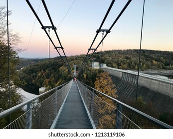Titan RT Bridge, one if the longest Suspension Bridges in the world in the Harz, Germany. Panorama of the Titan RT Bridge in the autumn time. Wallpaper, background.