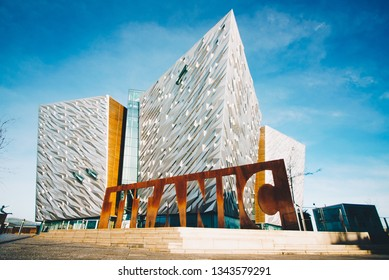 Titanic Belfast Museum, touristic attraction and monument to Belfast's maritime heritage on the site of the former Harland and Wolff shipyard. BELFAST, NORTHERN IRELAND - FEBRUARY 2019