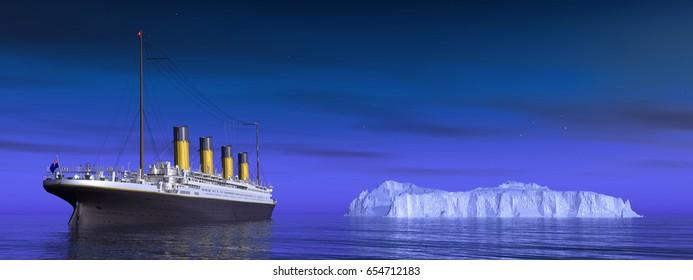 Titanic and iceberg Computer generated 3D illustration
