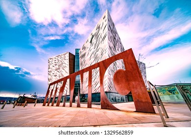 Titanic Quarter Belfast/ Northern Ireland 03/04/2019 Titanic Museum general view from low angle.