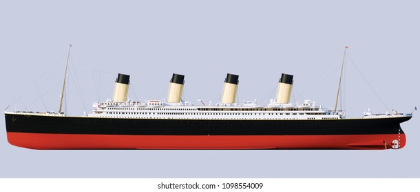 Titanic Rendering. Frontal projection. Side view. Sideways