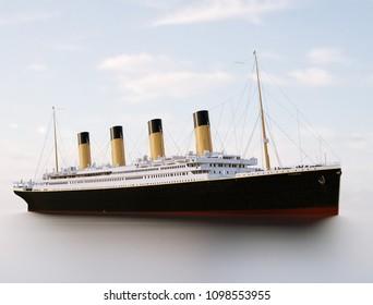 Titanic Rendering. Titanic in the sea. Sunny