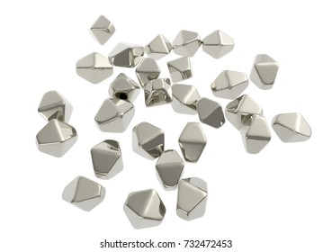 Titanium dioxide TiO2 nanoparticles, 3D illustration. TiO2 nanoparticles have shape of hexagonal crystals, they are used in medicine, chemistry, cosmetics, paper industry