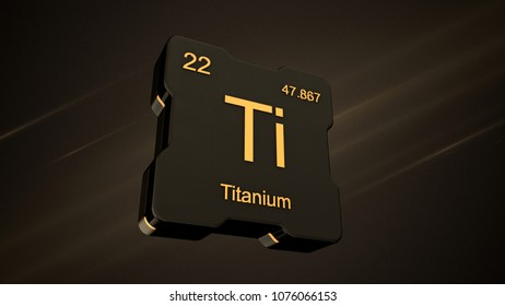 Titanium element number 22 from the periodic table on futuristic black icon and nice lens flare on noisy dark background - 3D render