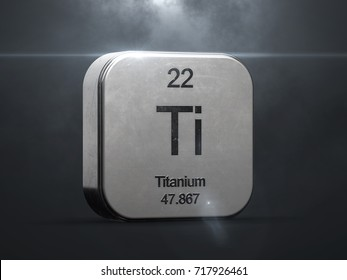 Titanium element from the periodic table. Metallic icon 3D rendered with nice lens flare 3D render