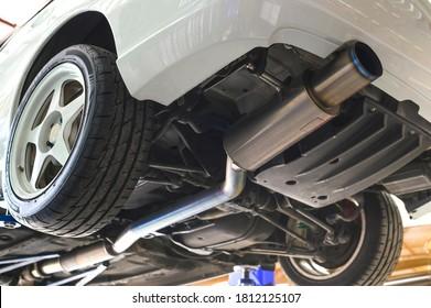 Titanium Exhaust System in Sport Racing Car.