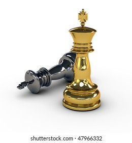 Titanium King (black) surrendering to golden King (white). High quality render with reflections and soft shadows and medium depth of field. Isolated over white, includes clipping path.