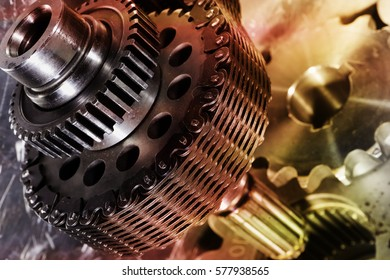 titanium and steel gears and bearings in metal colours toning, engineering parts