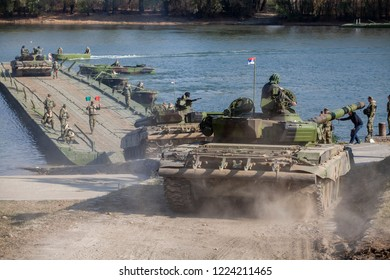 TITEL, SERBIA - NOVEMBER 07 2018; Serbian Army main battle tank M84 crews during river fleet. Serbia will mark the 100th anniversary of the victory in the 1.WW with a military exercise The Victory Day
