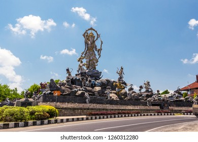 Titi Banda Statue in Denpasar, Bali. Lord Rama and his Monkey troops around him. Spectacular street statue in traditional Balinese style told story about the Ramayana epic