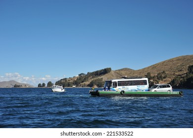 TITICACA LAKE, BOLIVIA - SEPTEMBER 4, 2010:  Ferry service on lake Titicaca. Titicaca, the highest largest fresh water lake in South America , the highest navigable lake in the world.