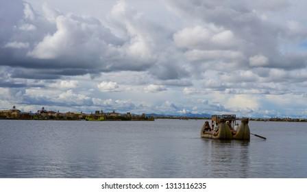 Titikaka lake, Puno/Peru-January 22, 2019: The floating islands at Titikaka lake, are another important tourist destination at Puno, Peru