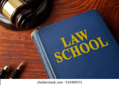 Title Law school on a book and a gavel.