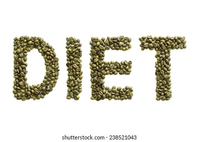 Title made from green coffee beans. Isolated on white background.