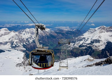 Titlis mountain, Switzerland - APRIL 10, 2016: Titlis rotair The world's first revolving gondola transports from the middle station at Stand up to the mountain station at 3,020 metres above sea-level.