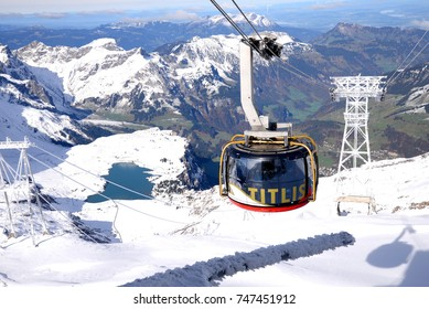 Titlis mountain, Switzerland - October 24, 2017: Titlis rotair The world's first revolving gondola transports from the middle station at Stand up to the mountain Titlis.