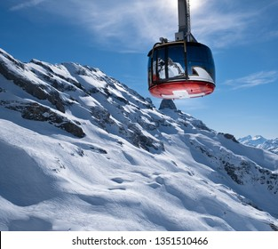 Titlis Rotair revolving cable car to the top of Mount Titlis in Engelberg, Switzerland
