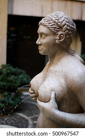 the Tits fountain in Treviso, Veneto, Italy. Built in 1559, the Fontana Dele tete (in Veneto ) is a fountain is located in a small tunnel in the city.