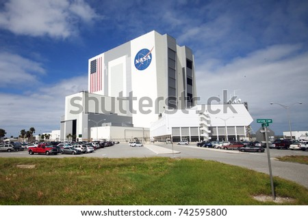 TITUSVILLE, FL - OCTOBER 12: Vehicle Assembly Building at Kennedy Space Center in Titusville, FL on October 12, 2017.