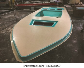 Titusville, Florida USA 01-17-2017 Small boat (skiff) being built in a very small bespoke style boat works. Progress pictures of the build.