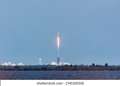 Titusville, Florida/USA - May 30, 2020: The SpaceX Crew Dragon spacecraft carrying NASA astronauts lifted off on the company's Falcon 9 rocket at NASA Kennedy Space Center in Florida.