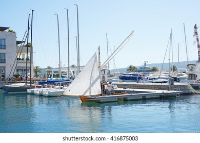 Tivat, Montenegro, April, 15, 2016: Boats and yachts in a bay of Adriatic sea