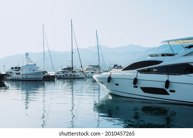 Tivat, Montenegro - June 28, 2021: Sunset view of the yacht marina in Porto Montenegro