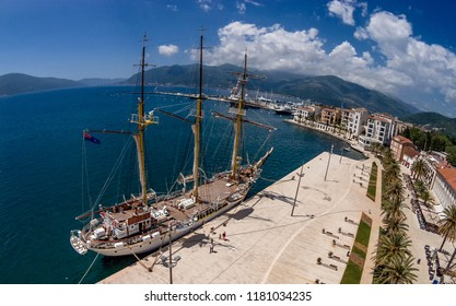 Tivat, Montenegro- May 14, 2017: Old yacht  in Tivat, Montenegro