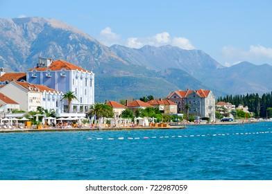 TIVAT, MONTENEGRO - SEPTEMBER 10, 2017: Beautiful view of promenade of popular resort town of Tivat, Montenegro