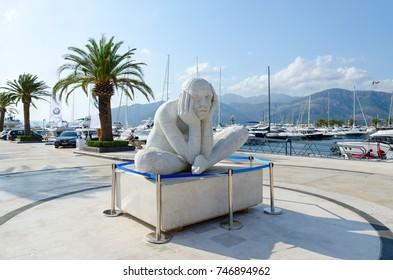 TIVAT, MONTENEGRO - SEPTEMBER 10, 2017: Sculpture in elite marina Porto Montenegro in popular resort town of Tivat, Montenegro