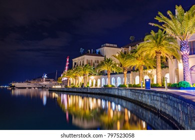 Tivat promenade night view in Montenegro
