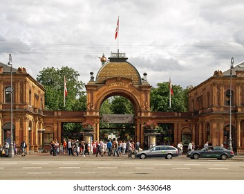 TIVOLI, COPENHAGEN - JULY 19: Tourists gather at Tivoli Gardens entrance July 19, 2009 in Tivoli, Copenhagen, Denmark. Built in 1843, it is the most famous amusement park in Denmark.