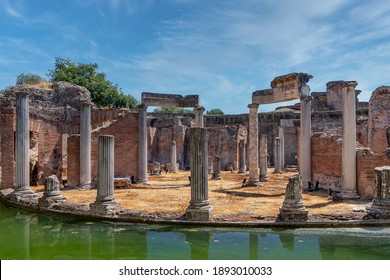 Tivoli, Italy - August 21, 2009: Hadrian's Villa, UNESCO world heritage site. View of the ruins of the maritime theater