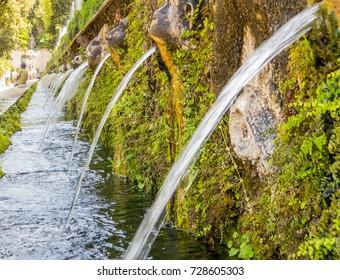 TIVOLI, ITALY - AUGUST 31, 2017 - The Hundred Fountains (Italian: Cento Fontane) in Villa d'Este.